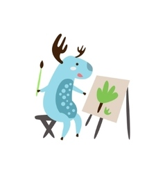Deer painting a picture vector