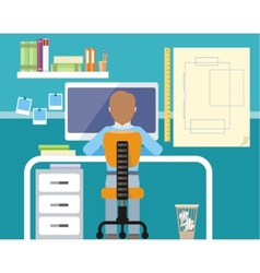 Engineer sitting on chair at computer monitor vector image vector image