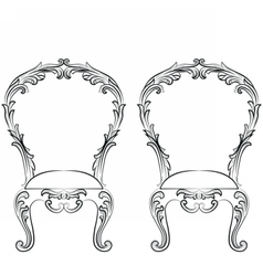 Fabulous Rich Rococo Chairs set vector image