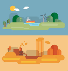 flat design concept with icons of ecology vector image