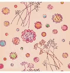 Floral pink seamless wallpaper vector image