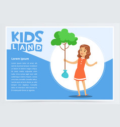Girl planting young tree eco concept kids land vector