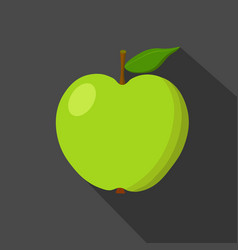 Green apple cartoon flat icon dark background vector