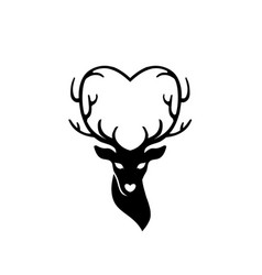 Head of deer with antlers love vector