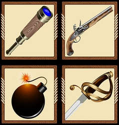 icons pirate ammunition vector image vector image