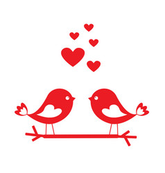 love birds with red hearts - card for valentines vector image