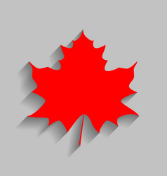 Maple leaf sign red icon with soft shadow vector