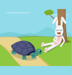 rabbit sleep under tree while tortoise run on road vector image vector image