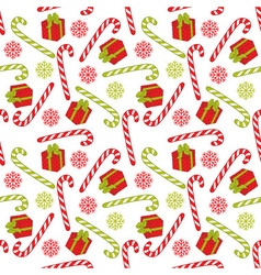 Seamless pattern with candy stick and gift box vector