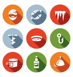Set of Winter fishing Icons Fisherman vector image vector image