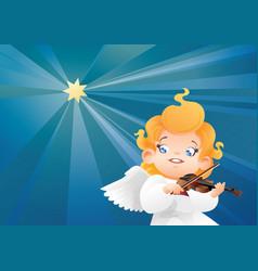 Smilyng flying on a night sky kid angel musician vector
