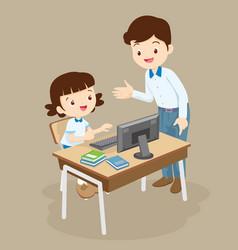 Teacher teaching computer to student girl vector