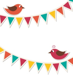 Two cute birds with flat buntings garlands vector image vector image