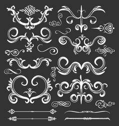 Vintage floral frames and lines elements vector