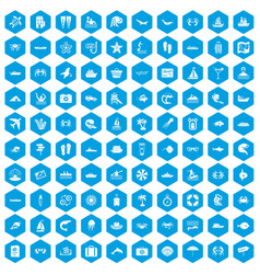 100 sea life icons set blue vector