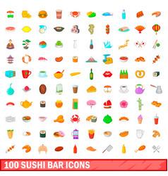 100 sushi bar icons set cartoon style vector
