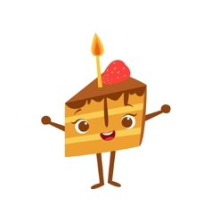 Piece of cake with candle kids birthday party vector