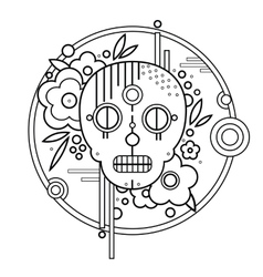 Geometric skull with flowers in circle black vector