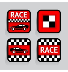 Race - set stickers square on the gray background vector