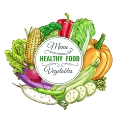Healthy food vegetables poster vector