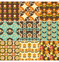 Set of retro flower seamless pattern wallpaper vector