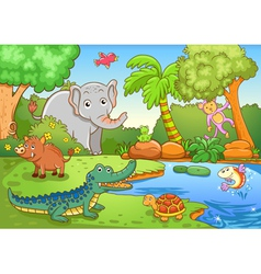 Animals in forest vector