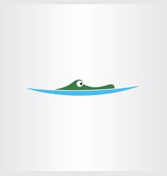 Crocodile in water icon logo vector