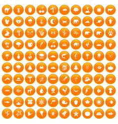 100 nature icons set orange vector