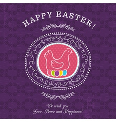 Purple greetings card for easter day vector