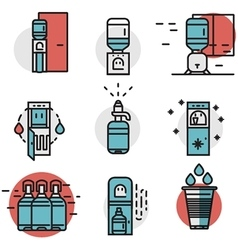 Water cooler flat line colored icons vector