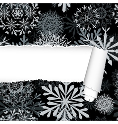 Snowflakes pattern with torn stripe vector