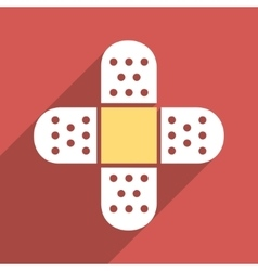 Plaster cross flat longshadow square icon vector