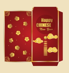 Chinese new year money red packet ang pau design vector