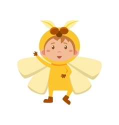 Child wearing costume of yellow butterfly vector