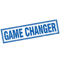 Game changer blue square grunge stamp on white vector