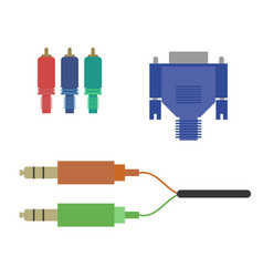 Aux vga component cable vector