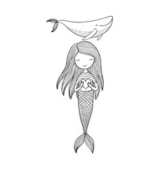 Beautiful little mermaid and whale siren sea vector