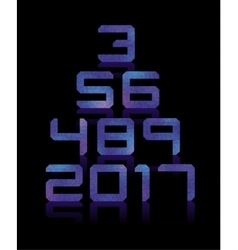 Blue number set with transparent reflections vector