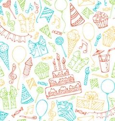 Bright seamless birthday pattern vector