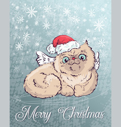 christmas poster with cat portrait in red santa s vector image