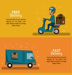 Color poster banner scene fast delivery man vector