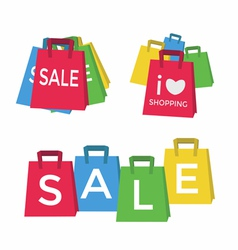 Color shopping bags - sale concept vector image vector image