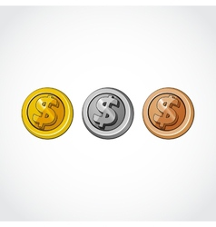 conceptual coin money isolated on a white vector image vector image