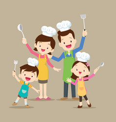 cute family cooking vector image
