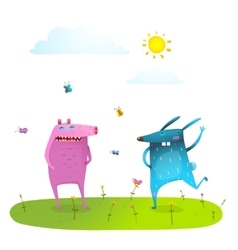 Friends cute animals playing having fun on sunny vector image