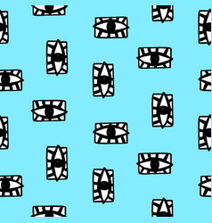 Hand drawn eye doodles seamless pattern vector