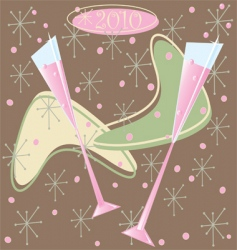 Happy 2010 retro champagne toast vector