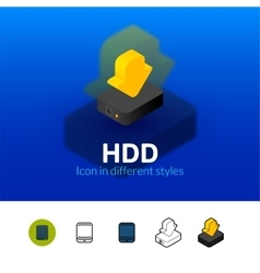 HDD icon in different style vector image