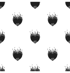 Heart in flame icon in black style isolated on vector