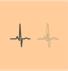 heart rhythm ekg dark grey set icon vector image